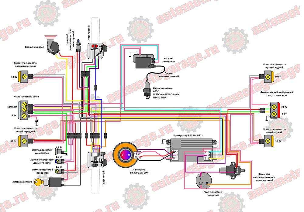 Схема электрооборудования мотоциклов восход 3м-01, сова 175, сова.