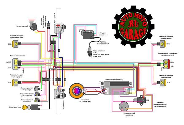 Электрическая схема, мотоцикла восход 3 м 12 вольт - Мотоциклы